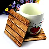 CRAZYINK Premium WOODEN PLANKS Printed Wooden Coasters Set Of 6 (4 Inch X 4 Inch)| Pure Wood | HD Print | Standard Size | Unique For Gift And Home And Office