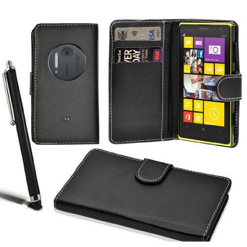 nokia-lumia-1020-stylish-wallet-case-leather-flip-cover-screen-protector-stylus-black