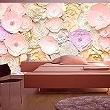 murando - Fototapete Blumen 3D 400x280 cm - Vlies Tapete - Moderne Wanddeko - Design Tapete - Wandtapete - Wand Dekoration - rose beige gelb b-B-0281-a-a