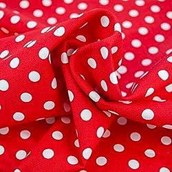 Emily&Joe's fabrics - Tejido 100% algodón por Metros, diseño de Lunares Blancos, 25 cm por Pieza