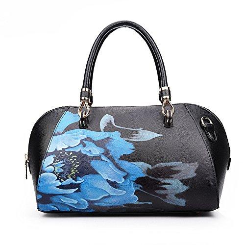 Mefly Tracolla singola cartella nuova moda Stampa Borsa Shell donne della spalla di trasporto a mano blu cielo black