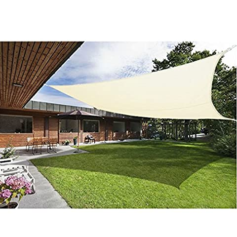 Greenbay Sun Shade Sail Outdoor Garden Patio Party Sunscreen Awning Canopy 98% UV Block Square Cream With Free