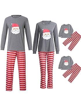 Ansenesna Familien Outfit Pyjama Weihnachten,Mutter Vater Kinder Weihnachten Soft Elegant Weihnachtsmann Tops...