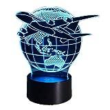 AI LI WEI Avión Vuela el Globo terrestre 3D Lámpara LED 3D Arylic Board con la Base ABS en Colores Lámpara de ilusión óptica 3D con botón táctil