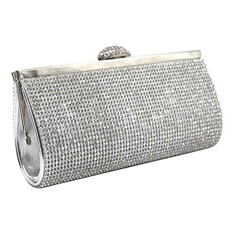 Wocharm New Silver Gold Crystal Diamante Bag Prom Wedding Evening Clutch Women Handbag Purse