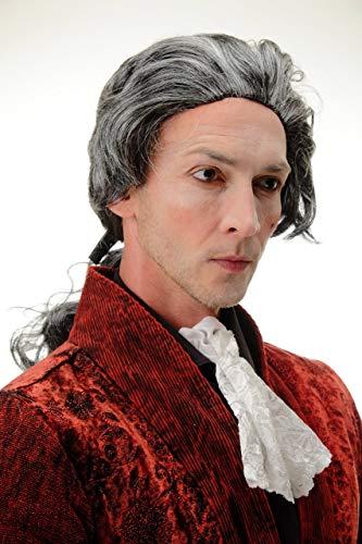 WIG ME UP ® -4287-P103-68 Parrucca Carnevale Halloween Grigio Coda Barocco Nobiluomo Poeta Principe Conte Vampiro Dracula