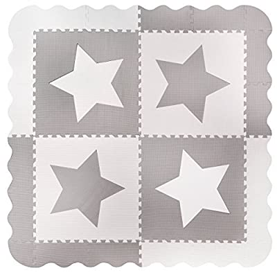 4 Large Grey Interlocking Foam Baby Play Mat Star Tiles - Play Mats with Edges. Each tile 60 x 60cms. Total 1.2m2.