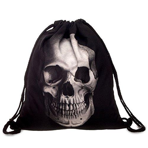 Imagen de bolsa de tela ,flyfish  bolsa sackpack budle viaje bolsillo estudiantes  paquete de gimnasio ideal para viajar skull black