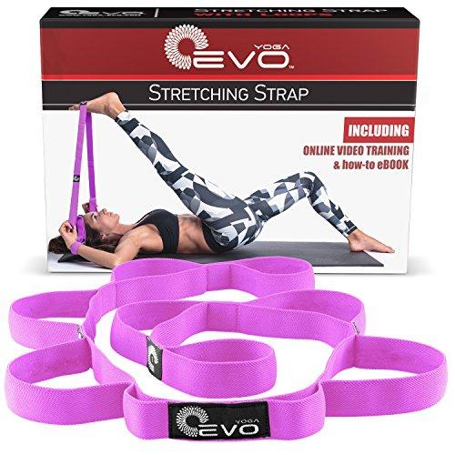 Yoga Evo Sangle étirement élastique avec passants + eBook et exercices de vidéo et sac de transport (Violet)