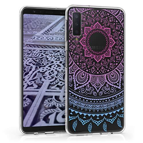 kwmobile Samsung Galaxy A7 (2018) Hülle - Handyhülle für Samsung Galaxy A7 (2018) - Handy Case in Blau Pink Transparent