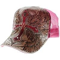 Strass tatuaggio in rete a forma di croce in rosa con tanti Strass decorativi e (Croce Cap Hat)