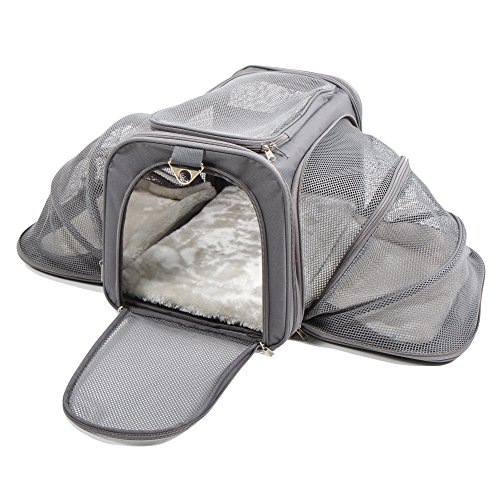 Expandable Dog Cat Travel Pet Carrier - Airline Approved, Soft Bed, For Car (Medium, Dark Gray)