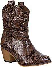Charles Albert Women's Modern Western Cowboy Distressed Boot with Pull-Up