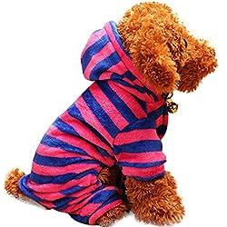 Ropa para mascotas Ropa para cachorros Abrigo con capucha para mascotas Mono de perro Chaquetas de perro Invierno Calentar Espesamiento A rayas Coral Velvet Cuatro patas Disfraces de mascotas LMMVP (L, E)