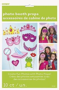 Unique Party- Princess Paquete de 10 accesorios de cabina de fotos Fiesta de Cumpleaños de Princesa, Multicolor, talla única (61937)