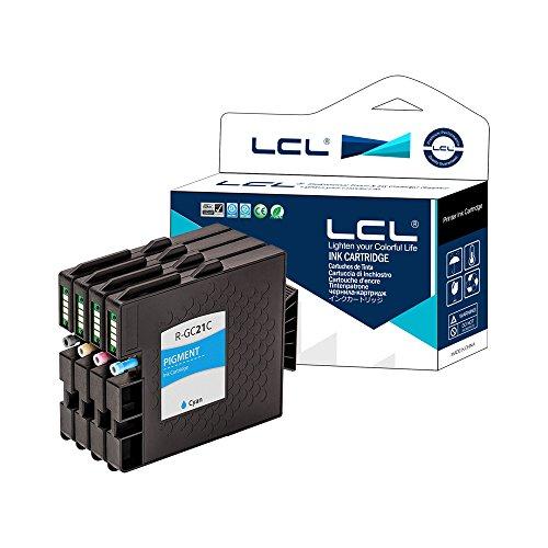 LCL GC-21 GC21 GC21K GC21C GC21M GC21Y Lot de 4 (Noir/Cyan/Magenta/Jaune) Cartouches d'encre Compatible pour Ricoh GX-7000/5000/3000/3000S/3000SF/2500