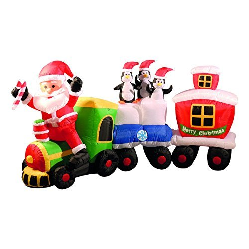 Inflatable Christmas Train with Santa and Friends