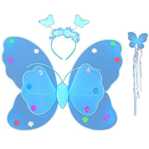 3 pz Double-deck Butterfly Wings archetto e bacchetta Kid Set
