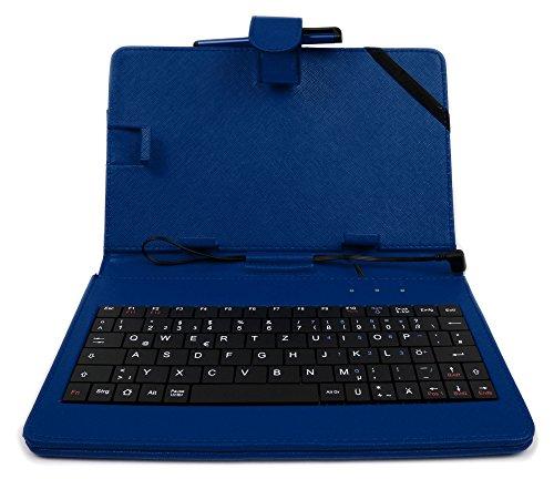 ülle mit Tastatur (mit Standfunktion und Micro-USB-Anschluss) mit Deutscher QWERTZ-Belegung, geeignet für Alcatel OneTouch PIXI 3 (7+ 8 Zoll) Tablet PCs (7 Zoll - BLAU) ()