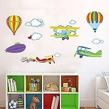 Wallpark Dibujos animados Globo de aire caliente Avión Desmontable Pegatinas de Pared Etiqueta de la Pared, Bebé Niños Hogar Infantiles Dormitorio Vivero DIY Decorativas Arte Murales