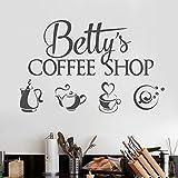 mlpnko Coffee-Shop-Logo Wandaufkleber Vinyl Innenarchitektur Fenster Aufkleber personalisierte Shop Name Aufkleber Tee-Set Teekanne Wandbild 102x153cm