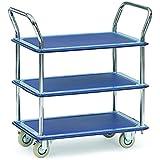 Fetra Ganzstahl-Tischwagen, 3 Ladeflächen, 740 x 480 mm, Traglast 120 kg, 1 Stück, blau, 3113