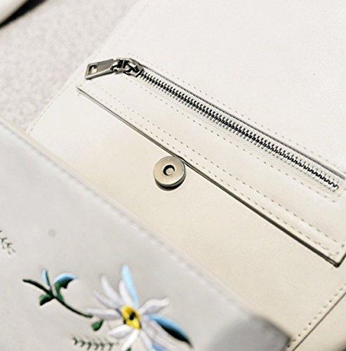 QPALZMbackpack PU Frauen Stickerei Rucksack Mit Reißverschluss Niet Dekoration Tasche Für Mädchen Blue