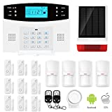 ERAY GSM Alarm System Home Security Systems Wireless with Outdoor Solar Siren, Support IOS/ Android APP, Auto Dial, SMS and Monitor, Battery Included