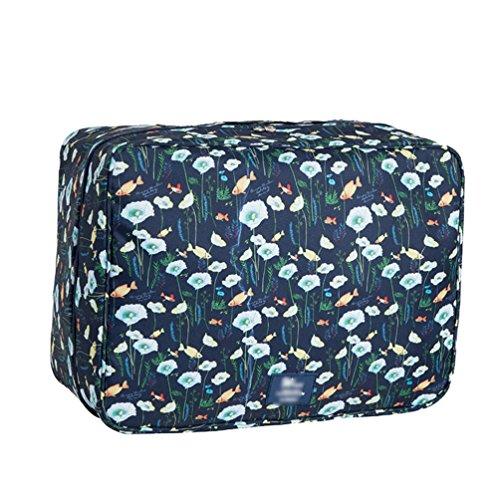 Dexinx Tragbar Gedruckt Aufbewahrungstasche Organizer Große Kapazität Wasserdicht Verpackungswürfel Organizer für Steppdecke Kleidertaschen Dunkelblau