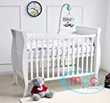 MCC Solid Wooden Baby Cot bed Savannah Sleigh Cotbed Toddler Bed & Premier Water repellent Mattress Made in England