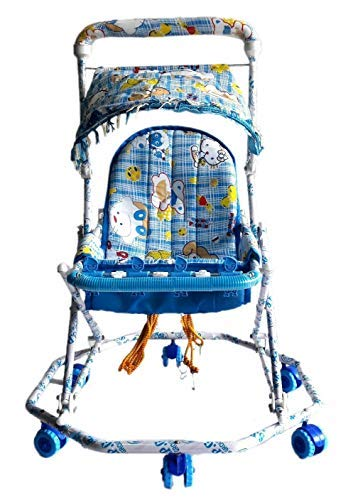 Baby Walker-Cum-PRAM 4in1 for Boys and Girls with Good Quality Material Swing,Walker.pram,Sleeping seat Colour availble Blue