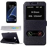 Etui coque horizontal Flip Leather Case Noir avec fonction support et Caller ID pour Samsung Galaxy S7Edge G935+ Film de protection + chiffon de nettoyage écran Signé ® DigitalBay