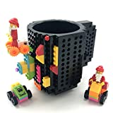 HUISHENG Build on Brick Tazza, Mug caffè, Regalo per Natale Halloween, Compatibile con Lego (Nero)