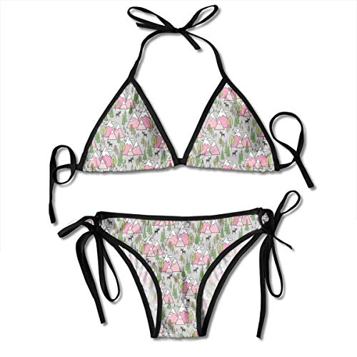 BigHappyShop Mountains Forest Woodland Trees U0026 Moose Pink On Grey Tiny Small_1866 90% Nylon 10% Spandex with Breast Cup