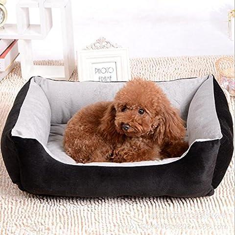 Lit doux pour les petits chiens de moyenne taille Taille de coton quatre étages XXS-XL (XL: 90 * 70 * 15cm, Noir)