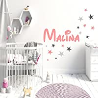 Wandtattoo AA175 Aufkleber Kinderzimmer personalisiert 16 Sterne Mix Set Pastelltöne plus Hellgrau / Grau
