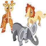 12 x Zoo Zootiere 3D Dschungel Bastelset Moosgummi Giraffe Elefant Löwe Kindergeburtstag Zooparty Tiere Basteln Beschäftigung