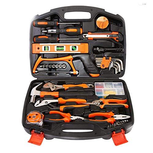 CPDZ 106-teiliges Haushalts-Tool-Kit für den Heimgebrauch Hardware-Reparaturwerkzeug, einschließlich Hammer-Hack-Säge-Sockel, Verstellbarer Schraubenschlüssel mit Sechskantschlüssel für Familien
