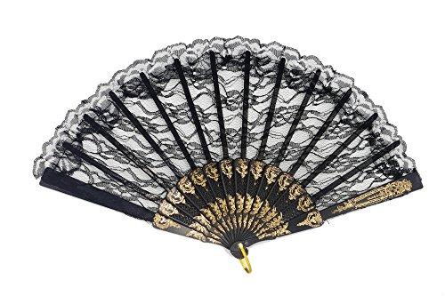 DRESS ME UP - SZ-001-gR-black Barock Viktorianisch Damenfächer Fächer Edeldame Adlige Königin...