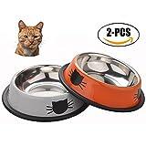 Tazón Gato, Sportgirls tazón de fuente del gatito del gatito del gato del animal doméstico del acero inoxidable con la parte inferior antideslizante para los perros pequeños gatos
