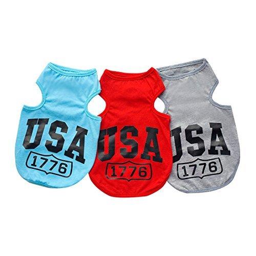 DealMux Hund Shirt USA 1776 Haustier-T-Shirt Kleine Hund Katze Weste Kleidung-Sommer-Welpen-Kostüme für Chihuahua Yorkshire Terrier