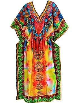 La Leela abito morbido casuale lungo caftano donne beachwear kimono coprire costume da bagno pi�