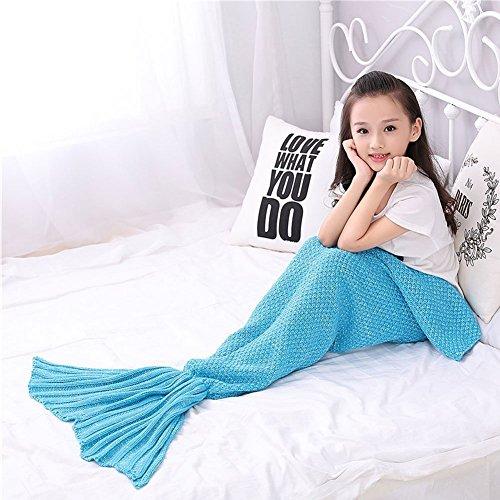 Coperta mermaid, florally coperta fatta a mano, utilizzabile come coperta, a coda a forma di sirena, coperta per divano letto, soggiorno con sirenetta, per bambini 140*70cm
