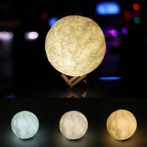 3D Mond Nachtlicht Lampe, Lemonbest Mondschein Schreibtisch Lampe USB-nachladbare 3 helle Farben Dimmable für Hauptdekoration Weihnachten