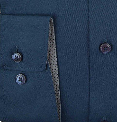 OLYMP Comfort Fit Hemd Patches Langarm Popeline weiß Marine