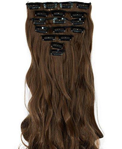 S-noilite Set 8pcs 43cm extension capelli clip nelle estensioni dei capelli della parte dei capelli ondulato o liscio pieno Testa vari colori Marrone chiaro