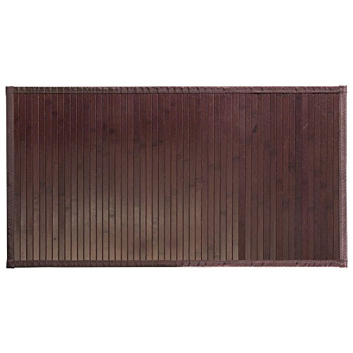 InterDesign Formbu Fußmatte rutschfest, mittelgroßer Läufer aus Bambus, mokkabraun, 86 x 53cm