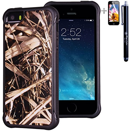 iPhone 5 5S case, True Color® rilievo stampato resistente agli urti TPU protettiva antiscivolo grip snap-on morbido robusto cover per iPhone 5 5S [True Impact Series] + pennino e pellicola protettiva Real HD Grass Camo