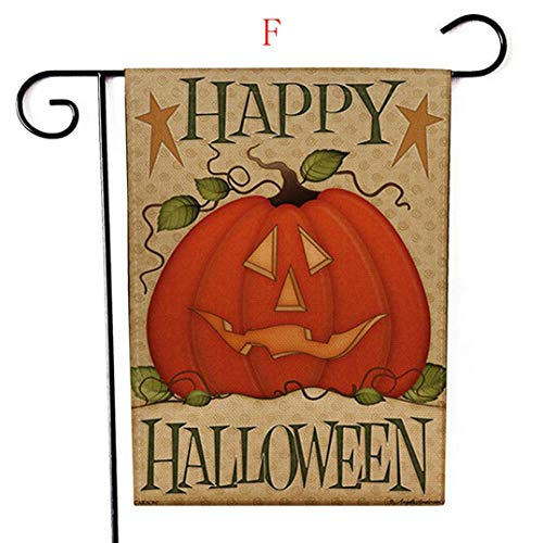 e Gedruckte Gartenflagge 47 * 32cm Kürbis-wetterfeste Garten-Flaggen-Halloween-Dekoration (F) ()
