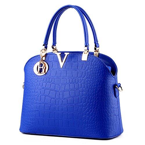 Myleas Donna Borsa a Tracolla Borsetta Shopper Borse con Cinturino Blu